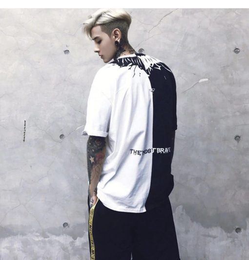 T-Shirt Printemps Hip Hop Noir Blanc