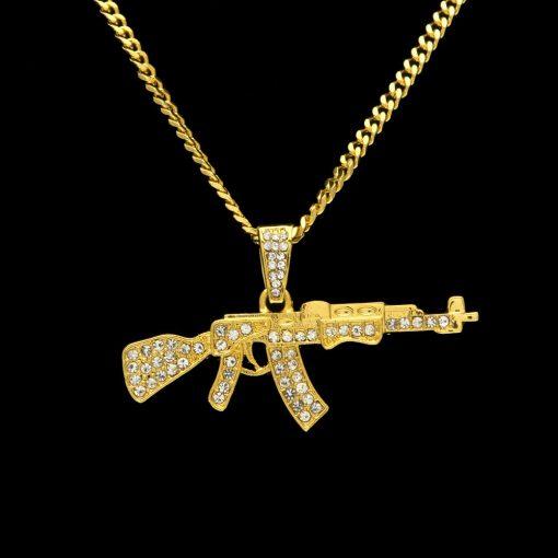 Collier Pendentif Hip Hop AK47 Gun
