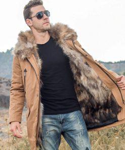 Veste Longue Jacket Fourrure Véritable Hommes