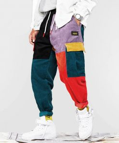 Pantalon Vintage Mode Couleur Bloc Velours