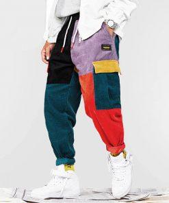 Pantalon Vintage Mode Couleur Bloc Velours
