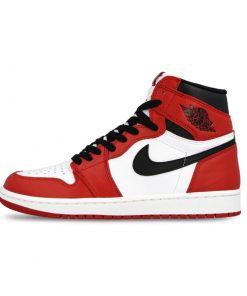 Chaussures Nike Air Jordan 1 Rétro OG Authentique Rouge Blanc
