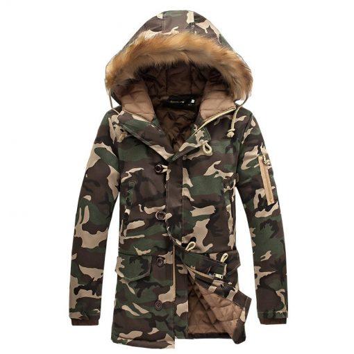 Vestes Étendu Parka Doublés Coton Camouflage