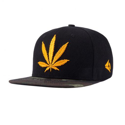 Casquettes Snapback Feuille Cannabis Dorée