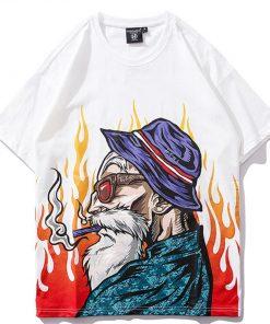 T-shirt blanc Hip Hop Tortue Genial Flammes