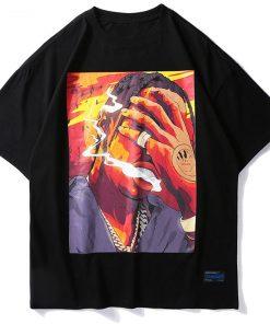 T-shirt Hip Hop Smoke imprimé Streetwear Unisex