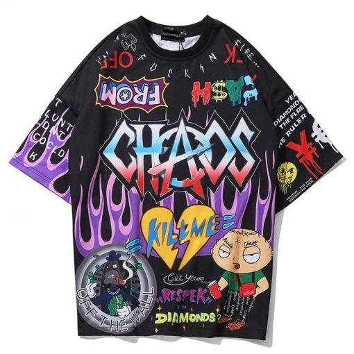 T-shirt Hommes Graffiti Cartoon Hip Hop