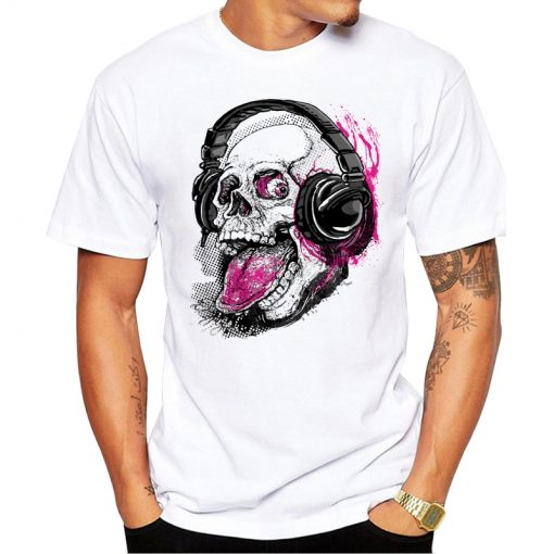 Tee-shirt Tête de mort Casque Musique Hip Hop