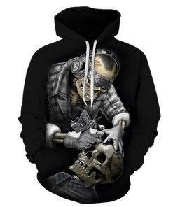 Sweats capuche imprimés unisexe Hip Hop Squelette Tatoueur