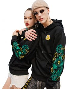 Veste Capuche Brodé Dragon Unisex Hip Hop Streetwear