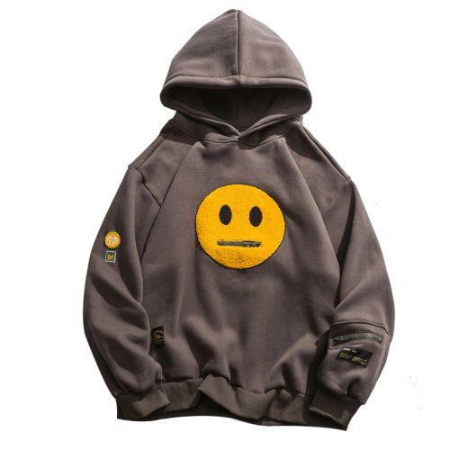 Sweat Capuche Smiley Fermeture Glissière Streetwear