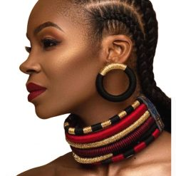 Collier boucles d'oreilles Africain multi-couche 40 cm