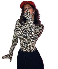 Haut Body léopard col roulé manches longues avec gants