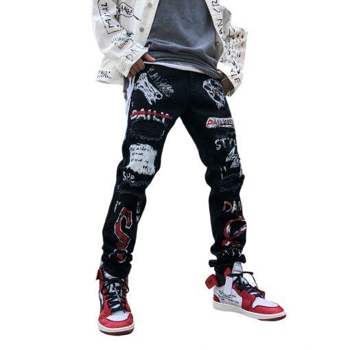 Pantalon Jean Street Hip Hop rétro Graffiti Homme