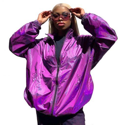 Veste violet brillant surdimensionné Femmes Zipper Hip Hop